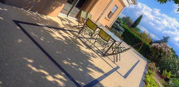 Terrasse en r sine en granulat de marbre moquette de pierre tapis de pierre - Resine pour terrasse beton ...